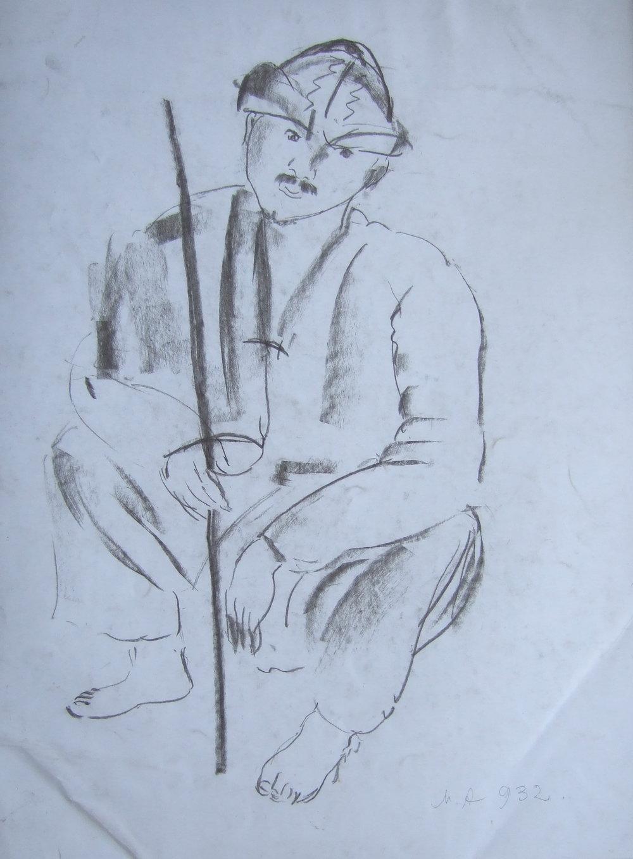 Сидящий человек.   Аветов, Михаил Никитич. Бумага, карандаш. Подписано инициалами и датировано 932. Размер: 37 х 28 см.