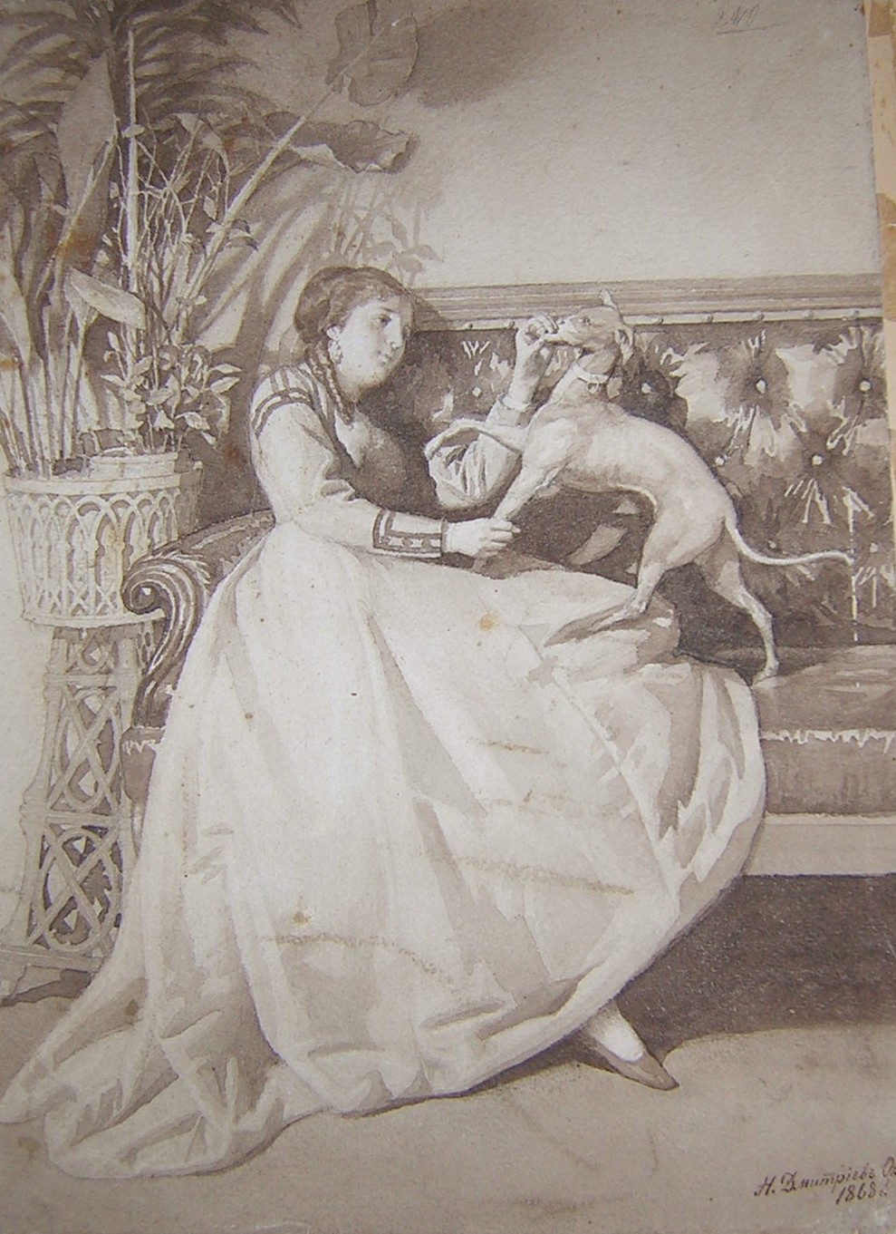 Lady plaing with her dog.    Brown ink on paper. Signed and dated 1868/ Size: 37 x 26.5 cm.