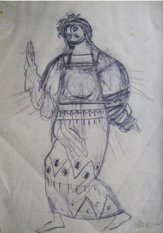 Bakst Leon. Costume design.   Pencil on paper. 13.5 x 19.5 cm. Artists stamp.