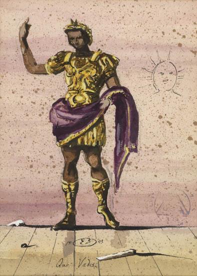 """Quo Vadis - costume design.  Marcus Vinicius - Costume design for """"Quo Vadis"""" , Ink, gouache, pen, watercolor on heavy cream laid paper. Size: 25.5 x 18.8 cm. Signed """"E.B."""", dated 1943."""