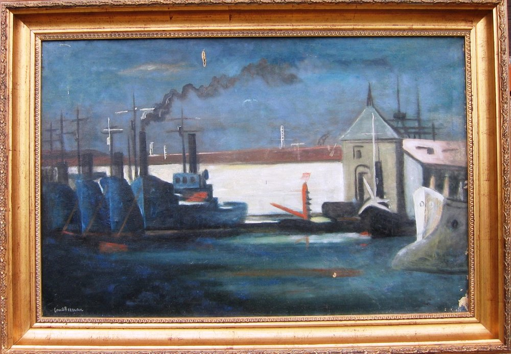 Port at night. Oil on canvas, signed. Size: 92 x 59 cm. c.1926.