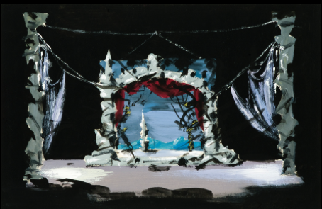 "Set Designs for Tchaikovsky's ballets ""Swan Lake"" (Opera de Paris, 1956)  Gouache on paper, signed. Size: 25 by 37 cm."