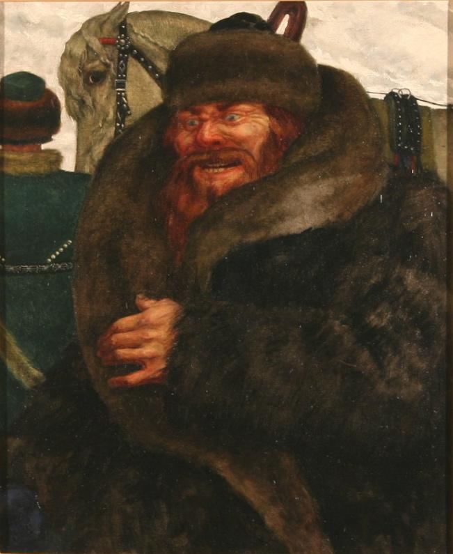 Izvoschik  Oil on canvas 21 3/4 x 18 in. (55.2 x 45.7 cm.)