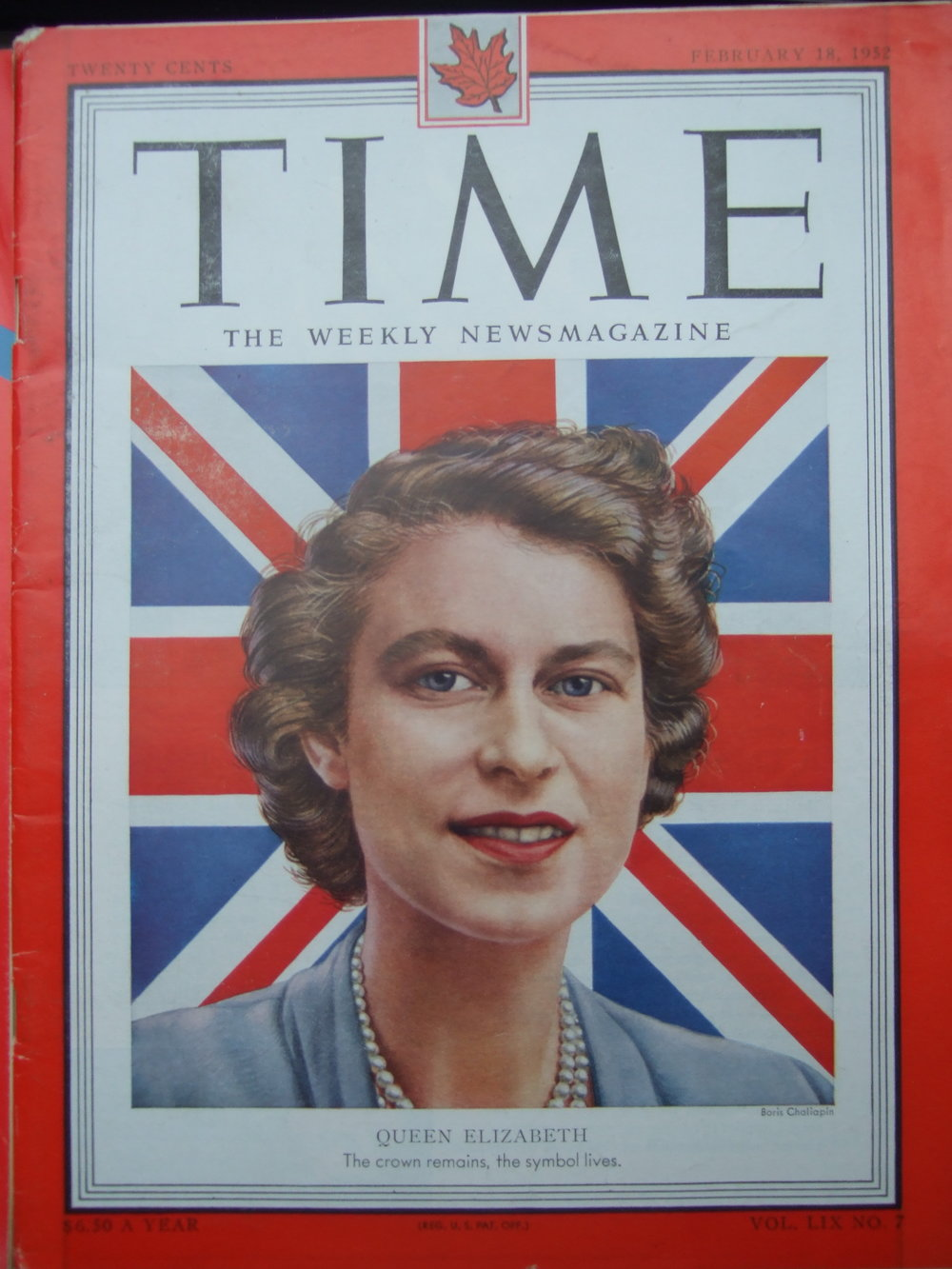 TIME magazine February 1952.  Queen Elizabeth II. Cover by Boris Chaliapin.