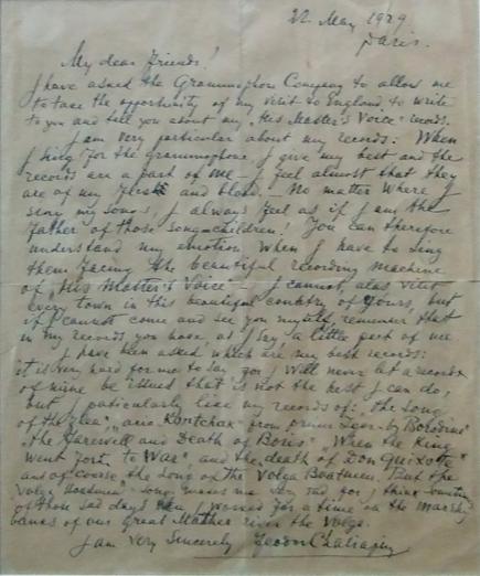 Автограф Шаляпина  Письмо Шаляпина в компанию звукозаписи датированное 22 мая 1929 года.