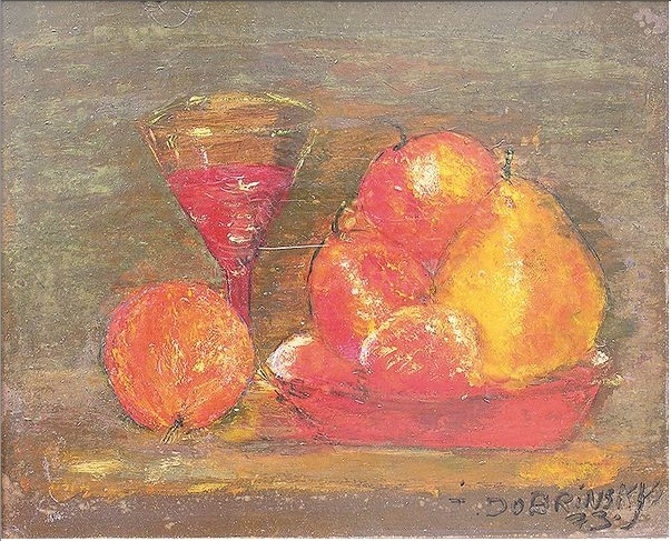 Nature morte aux fraises et au verre de vin (1973)  Oil on board, 24 x 30 cm, signed and dated.
