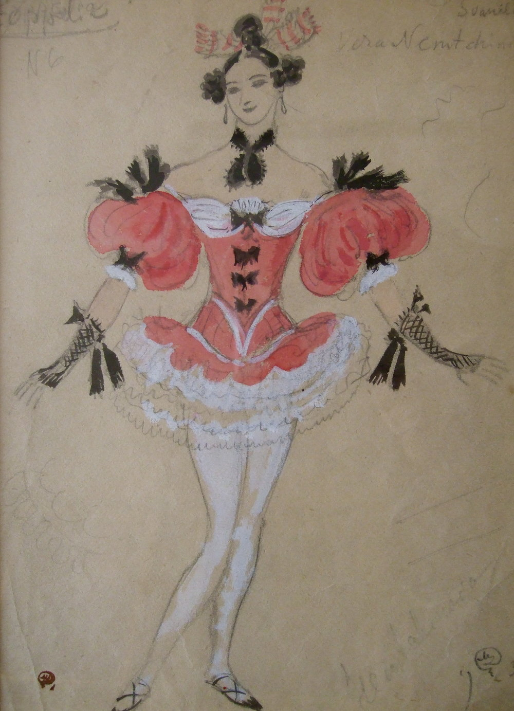 "Costume design for ballet ""Coppelia"".  Costume design for ballet production Coppelia. Gouache on paper, signed and stamped with artist's studio stamp. Size: 31 x 22 cm."