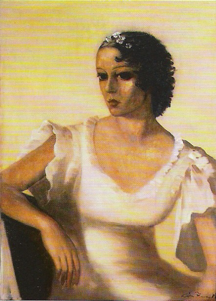 Lady in White.  Oil on canvas, size: 85 x 72 cm., signed.