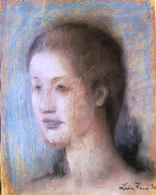 Portrait of a girl.  Pastel on board, 38 x 25 cm., signed.