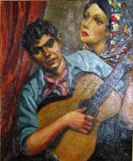 Guitar player. Oil on canvas. Size: 47 x 62 cm. Signed