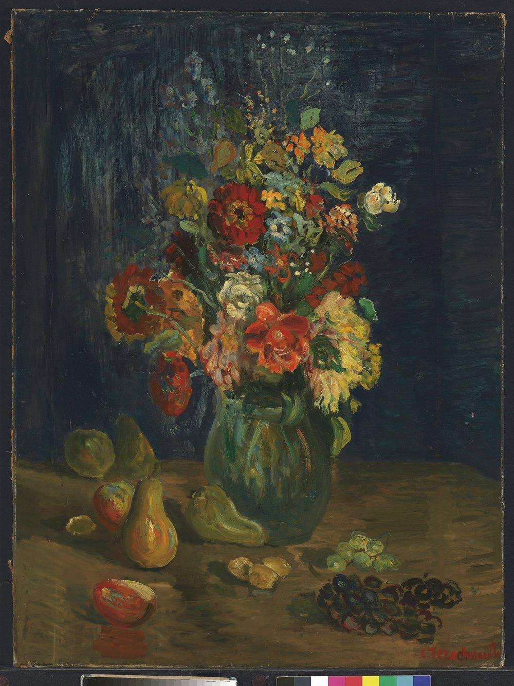Vase de fleurs et fruits  Oil on canvas. Size: 81.2 x 65 cm.