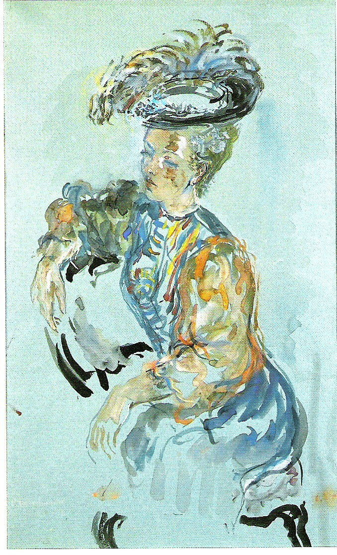 Lady seated  Gouache on paper. Size 60 x 36 cm. Signed and dated 1939