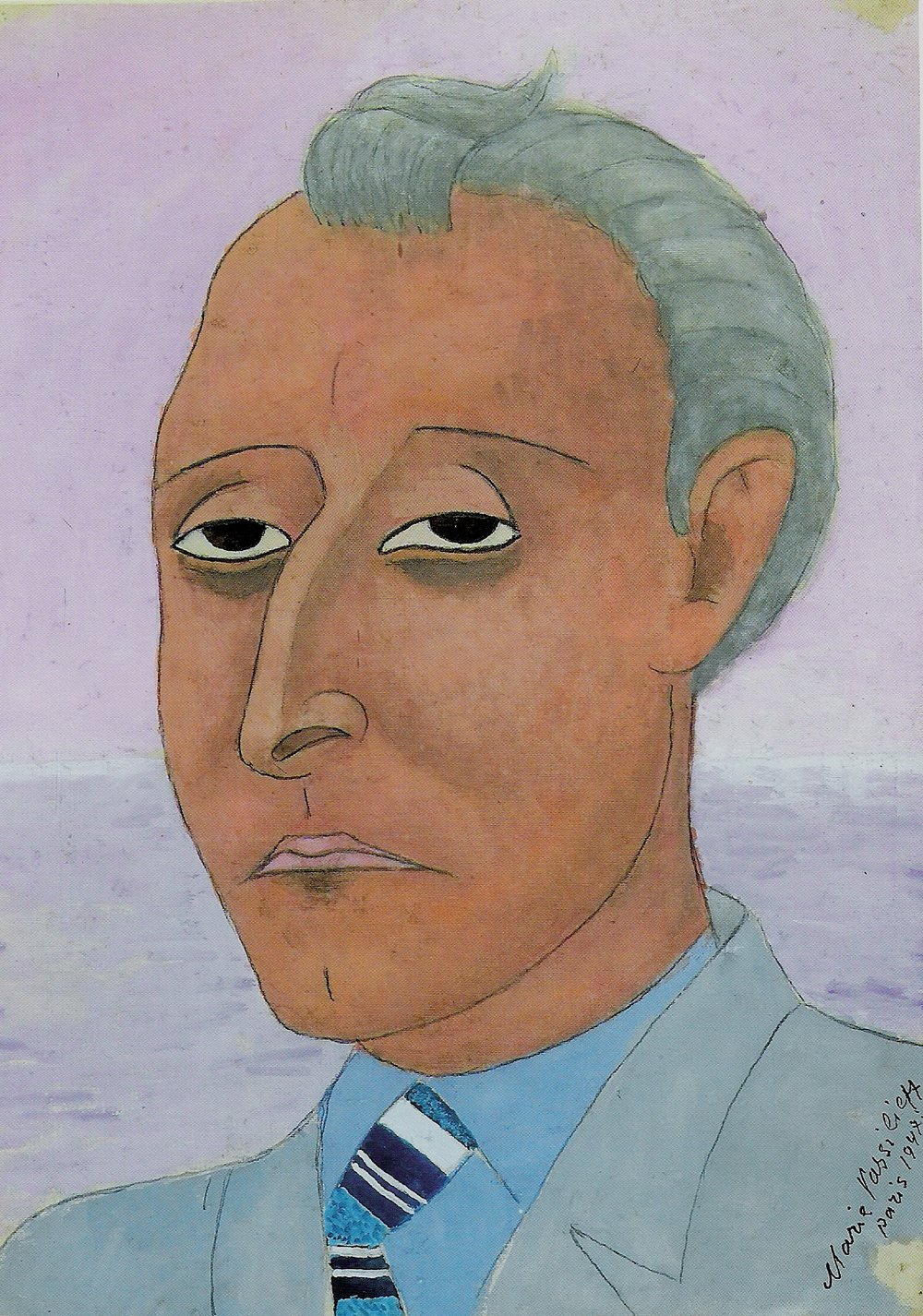 Portrait of a Man.  Tempera on silk. size: 32 x 24 cm., signed and dated 1947.