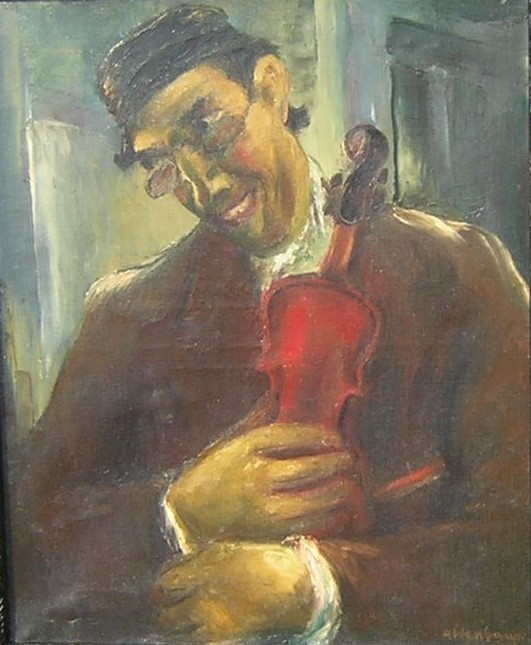 Jewish fiddler. Oil on canvas. Size: 52 x 75 cm., signed.