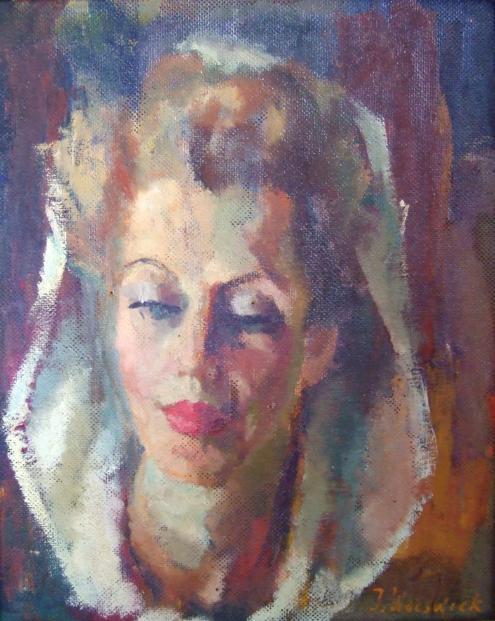Julia Worswick  Portrait of a lady. Oil on board, signed. Size: 41 x 33 cm.