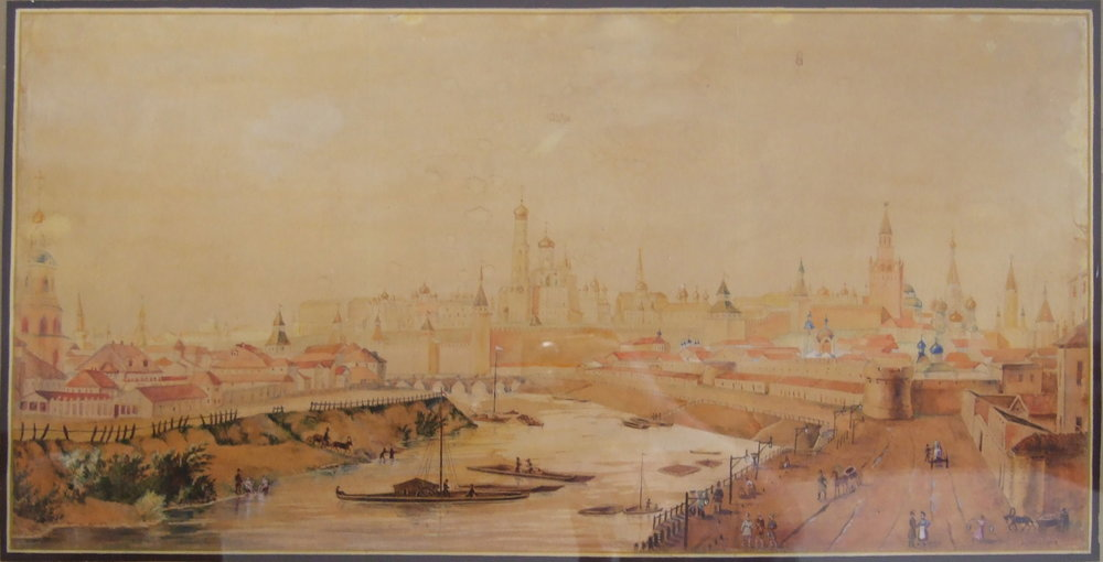 Kremlin, Moscow. Watercolour on paper. Size: 72 x 36 cm. Signed.