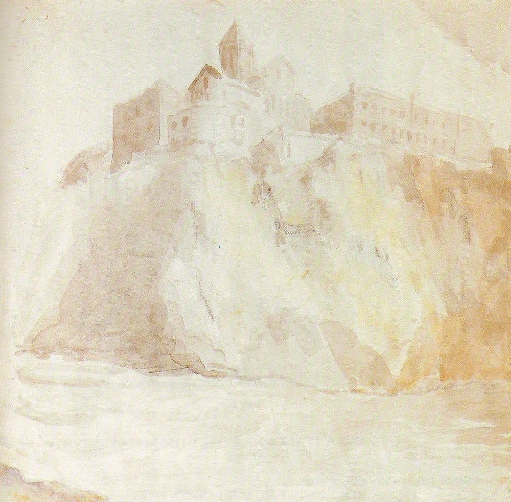 "The castle, Georgia. Watercolour on paper. Size: 27.5 x 28.7 cm. This was made for illustration for the magazine ""Vokrug Sveta"" (Around the World), No 2, 1941, Moscow."
