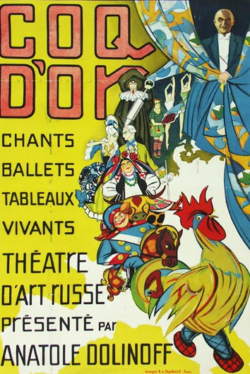 Золотой петушок Poster by George de Pojadaieff Coq d'Or, chants, ballets, tableaux. 1928 Paris Size : 120 x 80 cm. ( 47 x 31 inches) Printer: Chachoin.  Linen Backing.