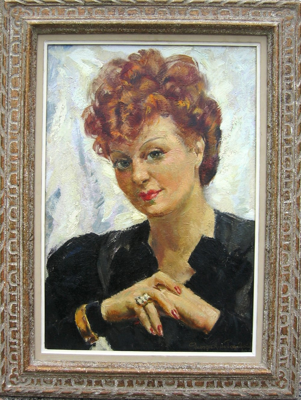 Portrait of a Lady. Oil on board.Size: 38 x 52 cm. Signed