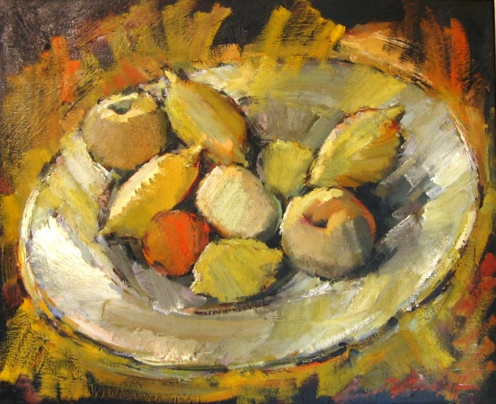 Stll life with lemons.  Oil on board. Signed and dated 925.Size: 43,50 x 34,50 cm.