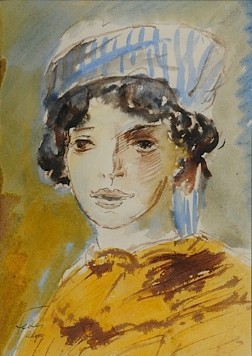 L'ALGERIENNE.  Watercolour on paper.Signed. Size: 36 x 26 cm.