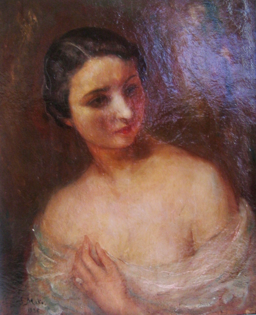 Portrait of a lady.  Oil on canvas. Signed and dated 1936. Size: 74 x 60 cm.