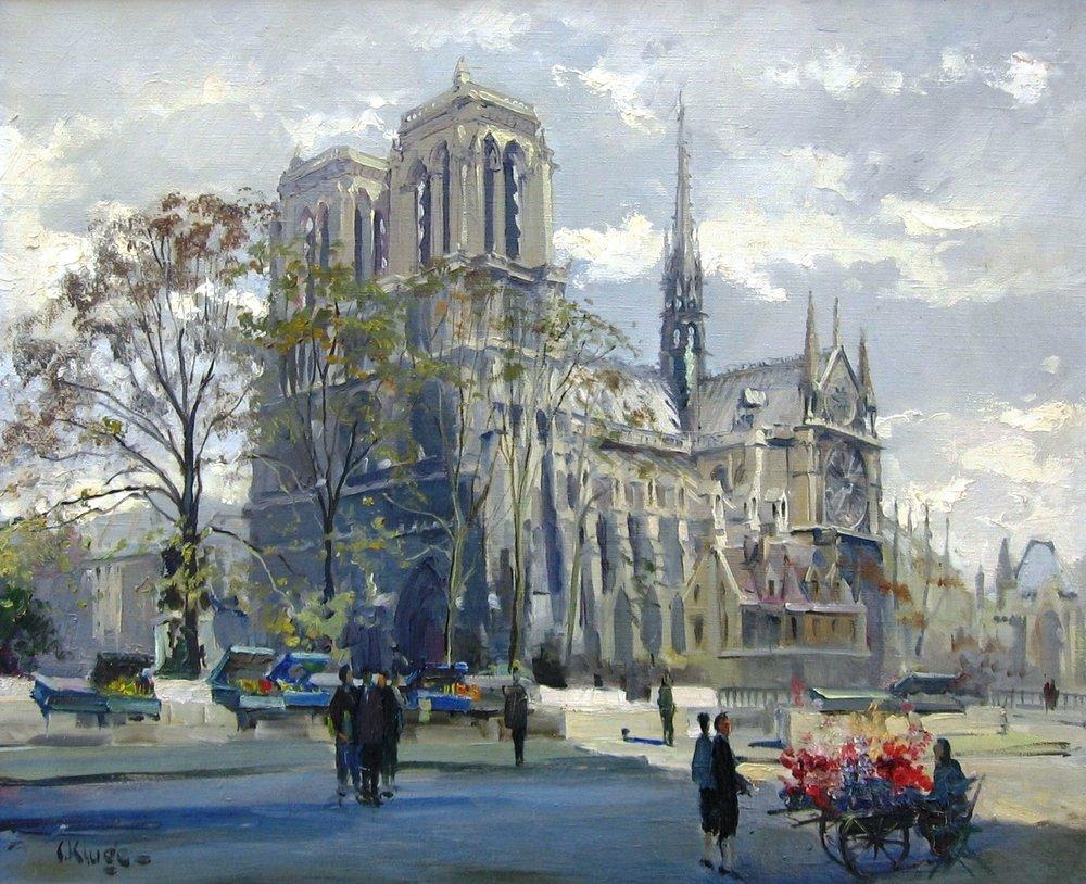 Notre - Dame de Paris.   Oil on canvas. Signed. Size: 42 x 59 cm.