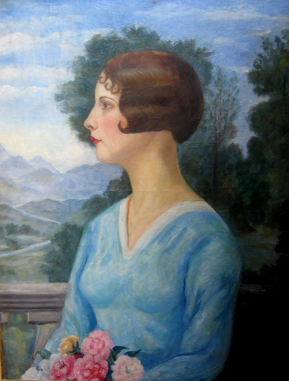 Portrait of a lady.   Oil on canvas Size: 66 x 50 cm.