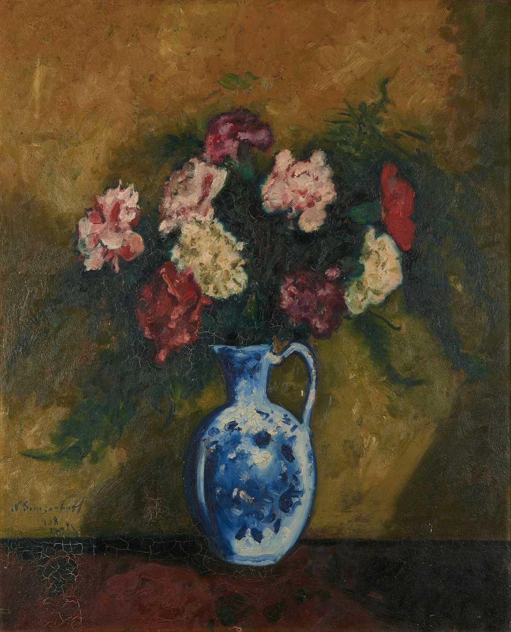 Still life with flowers. Oil on board. Signed and dated Paris 1938. Size: 61 x 50 cm.   Fine Art Photography Credit: Dan Korkelia