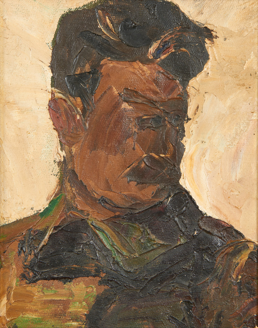Portrait of Stalin in military uniform.    Oil on canvas. Size: 25 x 20 cm. Inscribed on reverse. Provenance: Collection of A.B. Nikritina (Sister of the artist), Leningrad.