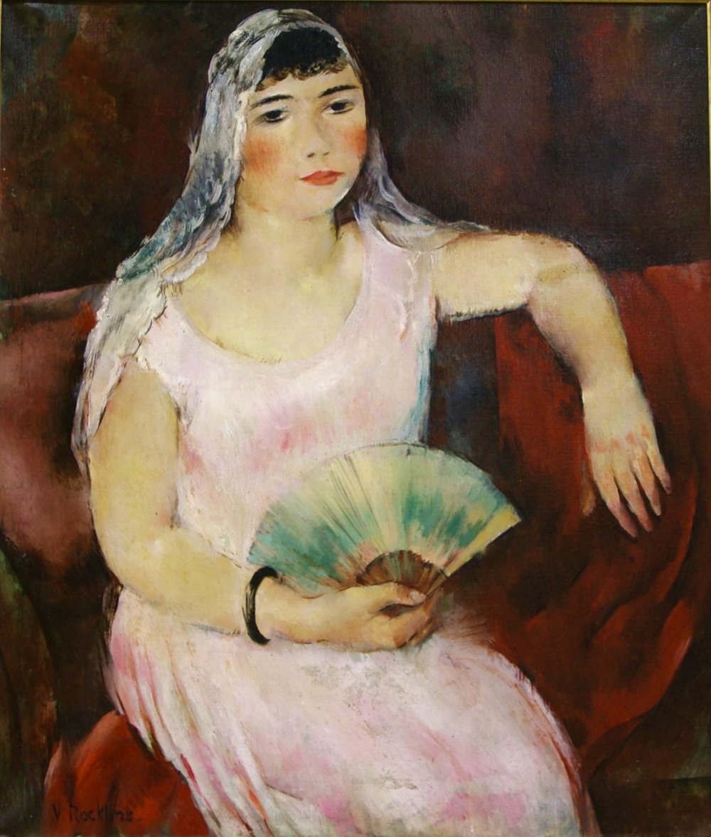 Rockline Vera (1896-1934)   Young woman with a fun Oil on canvas 91 x 77 cm Signed