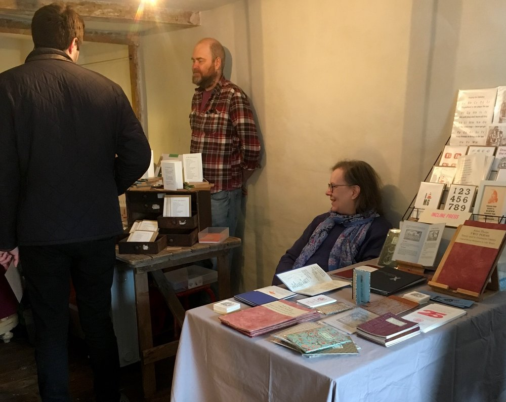 Our table at the Hay 'Goose was upstairs, next to Mostly Flat where Dulcie and Aidann, as well as showing their new range of greeting cards, had an Adana press set up for visitors to print with.