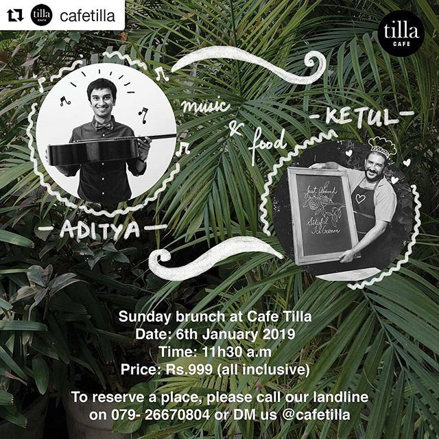 Hello everyone,  After a hiatus from performances I am really excited to get started again with a concert at one of my favorite cafe's in Ahmedabad - @cafetilla .  My idea of a perfect Sunday afternoon. ・・・ Concert Series N॰ 1  We begin 2019 with a very special series of music + food events. Aditya Gandhi is a guitarist who will play a mix of Spanish and Latin American music for the classical guitar. The selection of exciting dances, songs and virtuosic 'caprices' for this concert have been intentionally picked to introduce first time listeners to this genre. The concert will follow a special 3-course brunch put together by chef Ketul Patel using seasonal ingredients. __________
