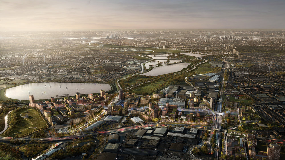 CGI of the Meridian Water masterplan, looking south
