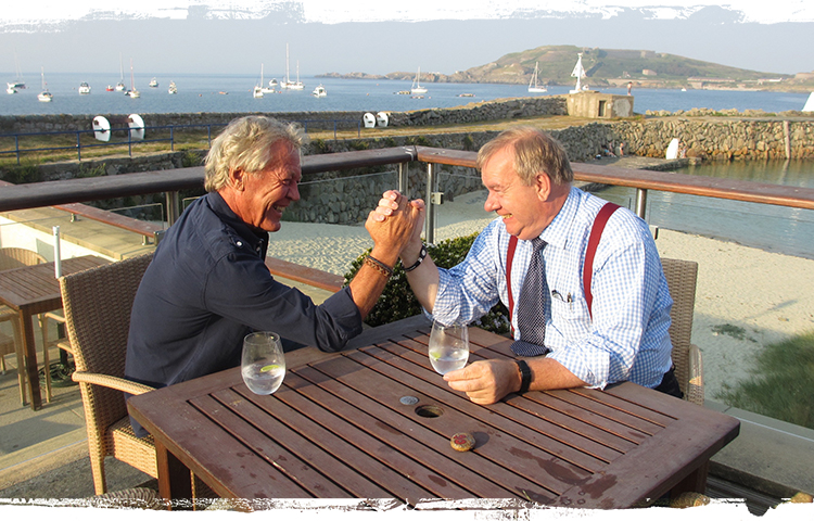 Derek arm-wrestling former Hotel Manager Richard Proctor who was with us for 7 years