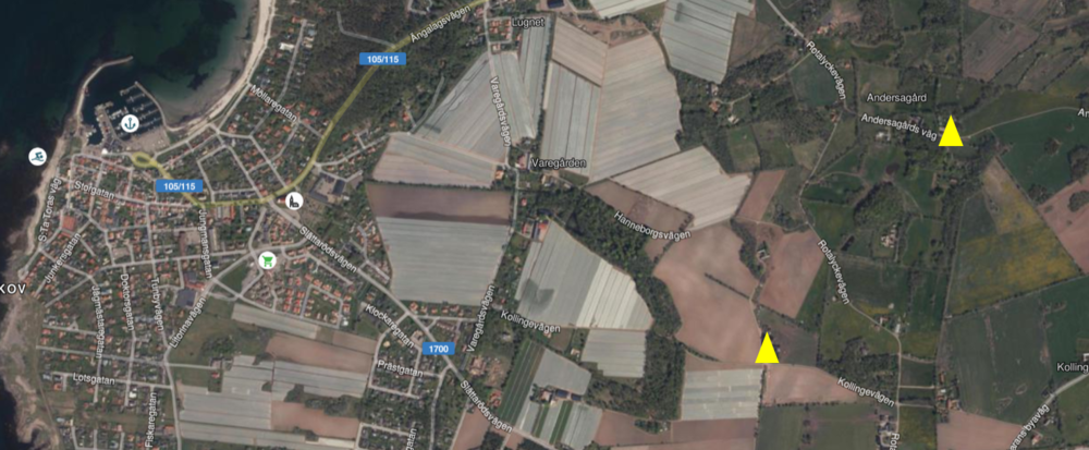 """De gula trianglarna visar var Dan & """"Begus"""" bor i förhållande till Torekov"""