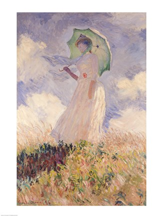 Woman And Umbrella By Claude Monet