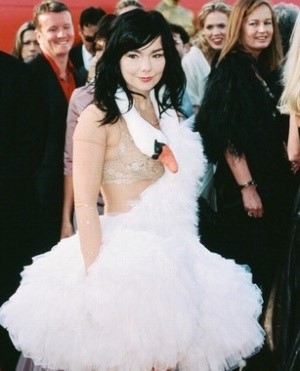 Look at all those people in the background staring at Bjork and look at Bjork not caring because she knows she's all anyone is going to be talking about the next day.
