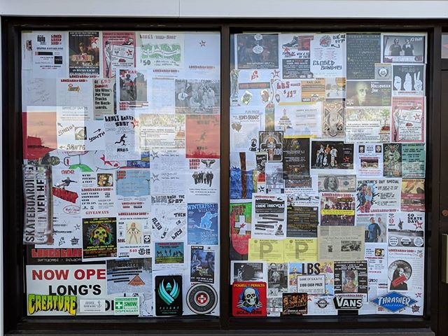 In the front windows Sarah put up the flyers from all the events we put on over the last 7 years. Incredible times! Thanks for all the outpouring of love in the last few days. Sorry we haven't been able to keep up with reading and responding to it all, it's been overwhelming.  Stuff's going quick so come down and take advantage while you can.  #thankyouskateboarding #thankyousnowboarding