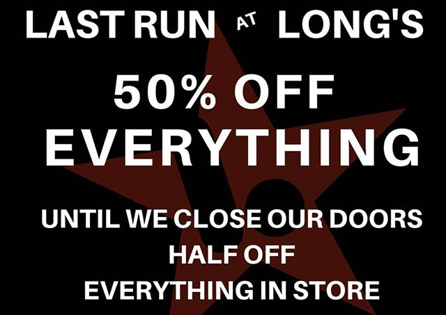 Last Push At Long's Is This Saturday - February 23, 2019 will be our last FULL day open... We will be there for a shortened day, Tuesday February 26, from noon to 5 PM, as we sell off what is left of any stock and also put out some poster/banners for sale.  We've seen so many of you in the last week and read every single comment, message and sentiment you have all shared about what Long's Board Shop has meant to you these past 7 years. We will close this chapter with full hearts and look forward to seeing you all on four wheels or on the slopes.  Keep Pushing  #maine #maineskateboarding #mainesnowboarding #SoPo #portlandmaine #lbsarmy #keeppushing