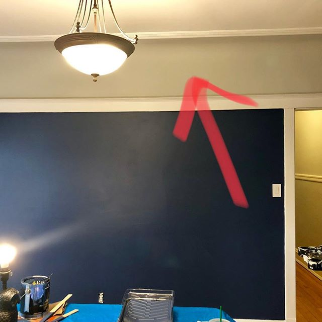 HELP! My dad says to paint this section white so the dining room doesn't look like a cave. My bestie says keeping painting blue because it will look more modern. I agree with them both! What do you think???