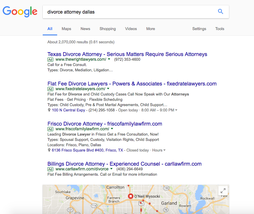 Google Adwords dominates the entire screen on this search page. This is why we see 64% of clicks on this page go to ads - not the 'free' search rankings as some people believe.