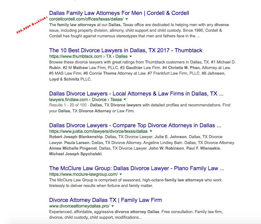 dallas divorce attorney organic listings screenshot 3