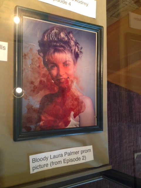 Prop -- Laura Palmer's bloody homecoming photo. The blood is actually Ray Wise -- he cut it while filming the emotional scene of mourning his daughter's death.