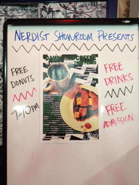 Damn Fine Coffee exhibit held in the Nerdist Showroom of Meltdown Comics