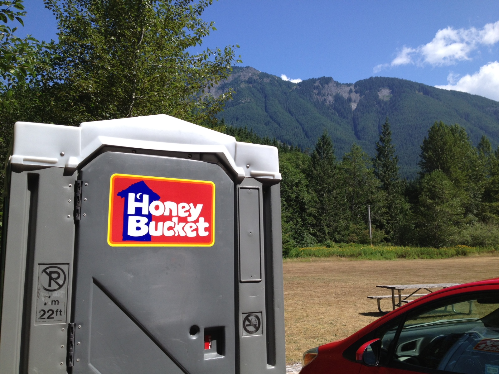 In Washington, a porta-potty is called a Honey Bucket. Makes it a little sweeter?