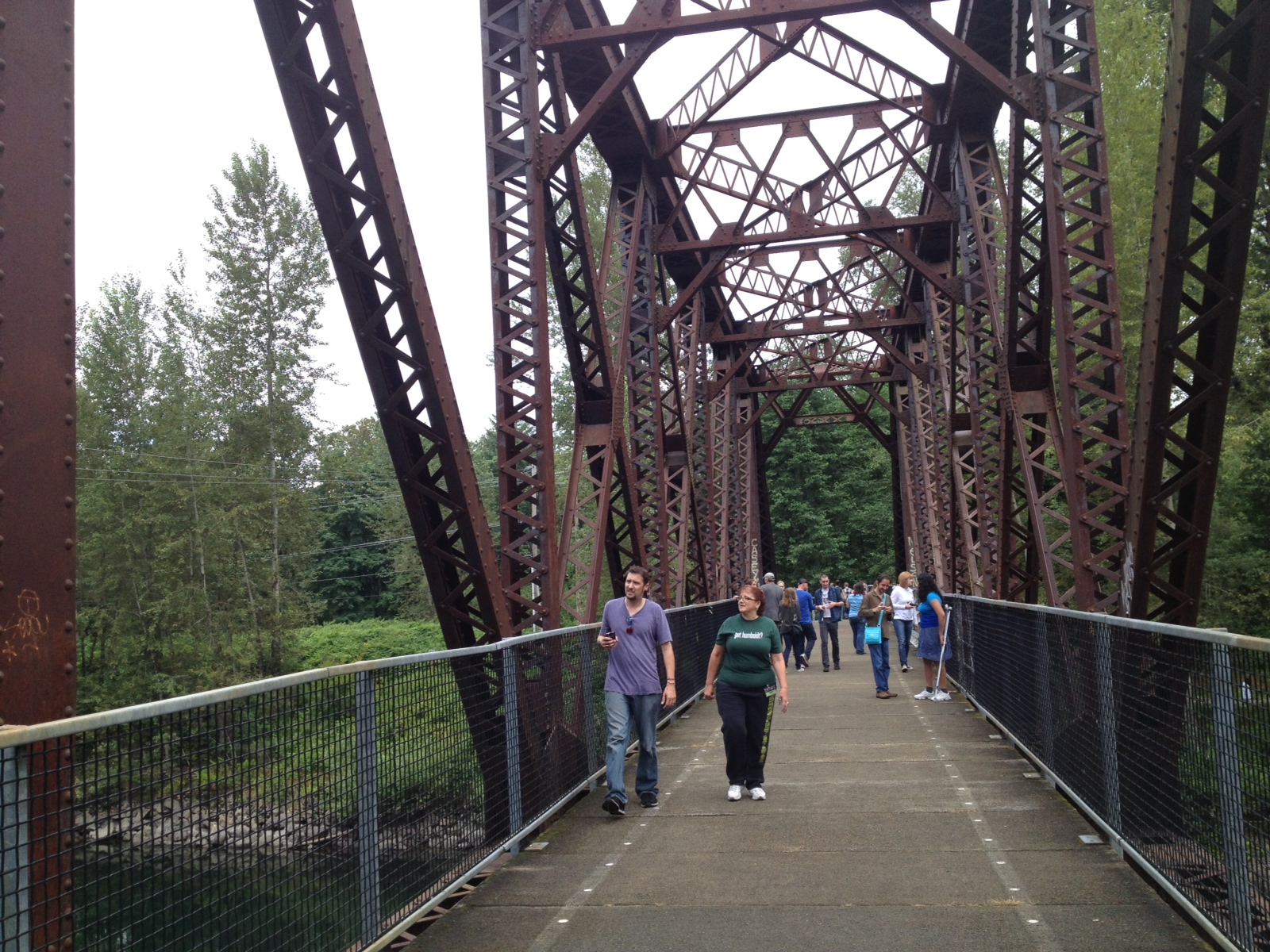 Traversing Ronette Pulaski's bridge. The train track has been converted into a lovely walking path.