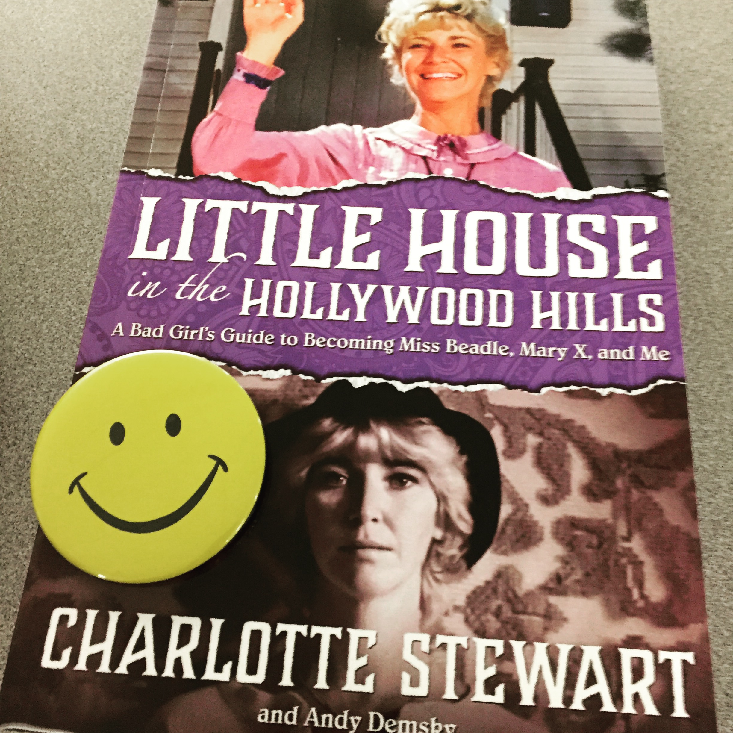 Charlotte Stewart's book is quite the read. Plus, she gave us a Betty Briggs happy-face button to don at the Fest.