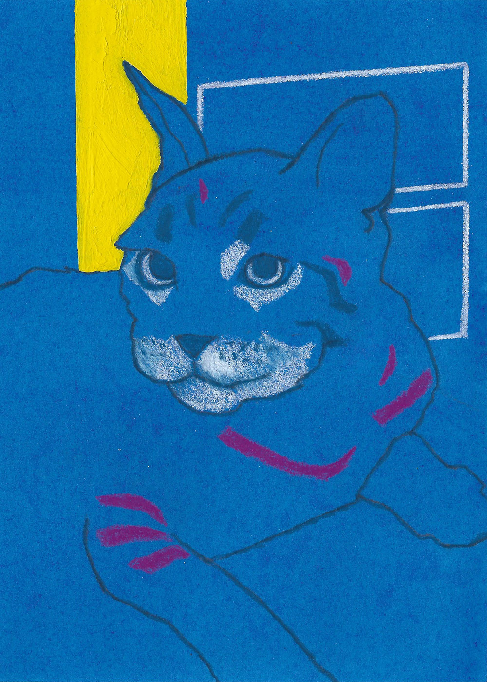 "Another Cat Colored pencil, acrylic and gouache on paper 7"" x 5"""