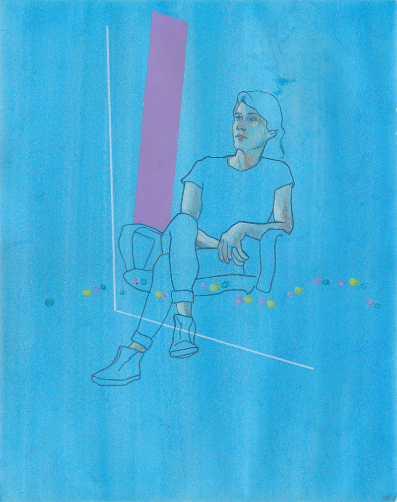 """Untitled (Alex) Colored pencil and graphite on paper 14.25"""" x 11.25""""  [SOLD]"""